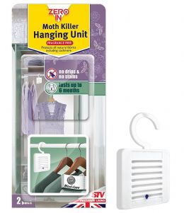 2x Zero In Scent-Free Hanging Unit Moth Killer, Kills Clothing Moths Larvae Eggs